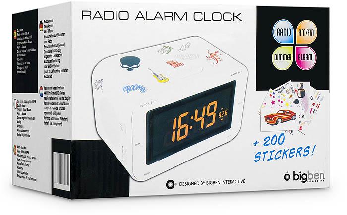 Radio Reveil AM/FM (Blanc + Stickers) - Visuel