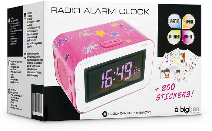 Radio Reveil AM/FM RR30 (Rose + Stickers) - Visuel