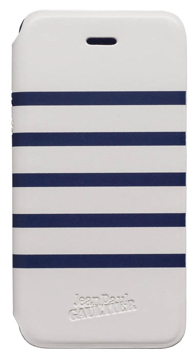 Etui folio Marinière Jean Paul Gaultier (blanc & bleu) – Packshot