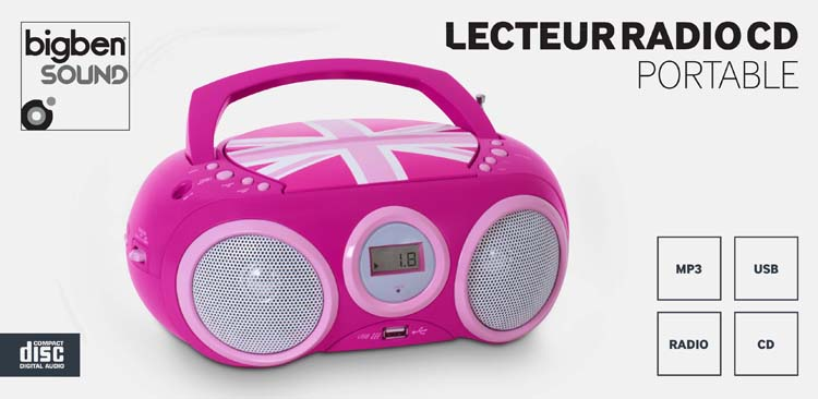 "Lecteur Radio CD portable CD32 ""GB Girl"" - Visuel"