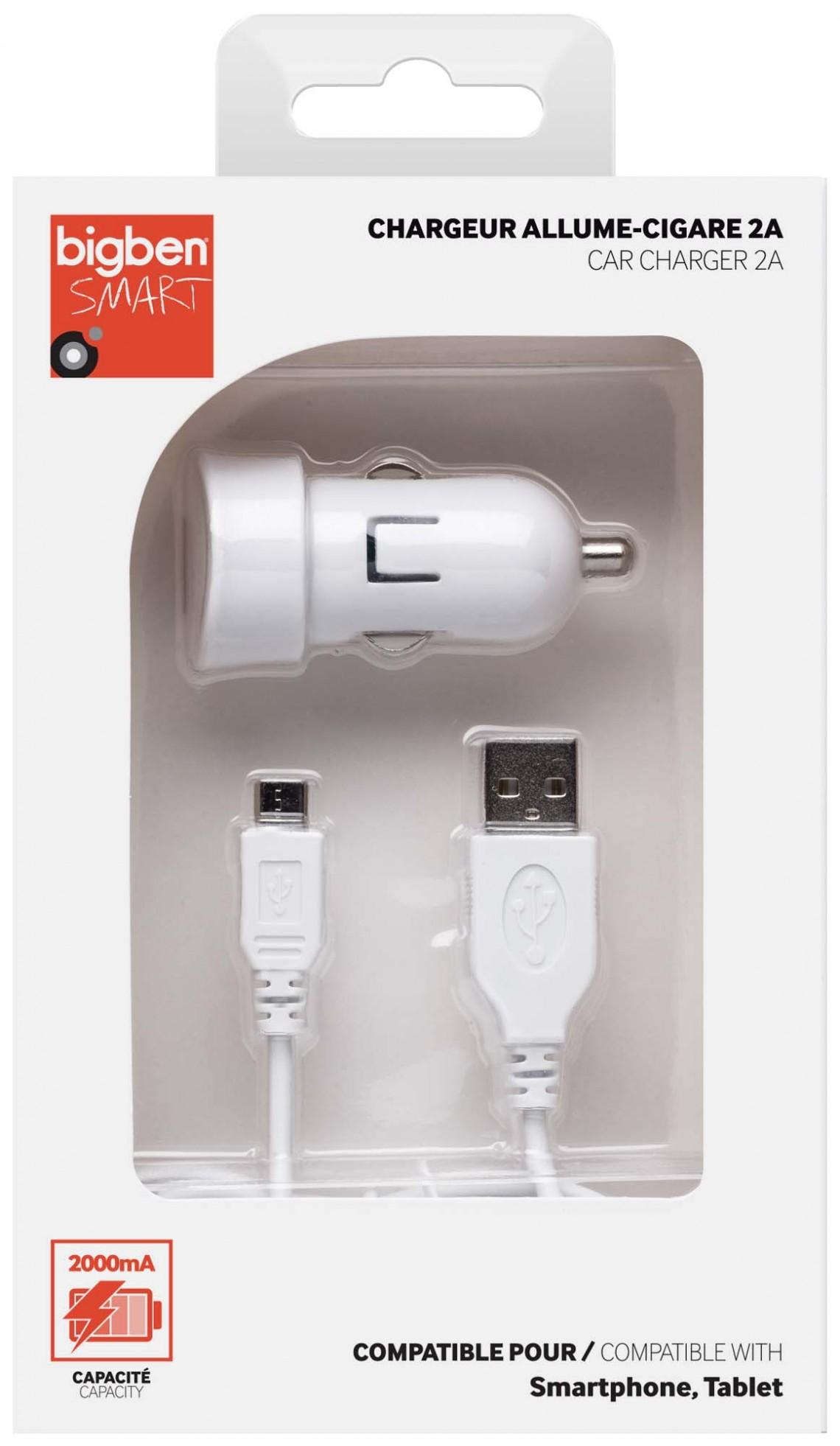 Mini chargeur allume cigare micro USB (blanc) – Visuel