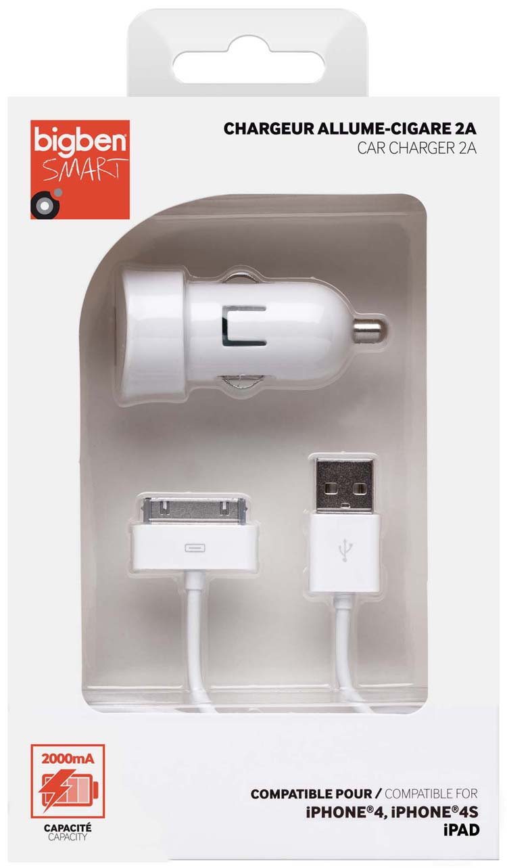Mini chargeur allume cigare micro 30-pin (blanc) – Visuel