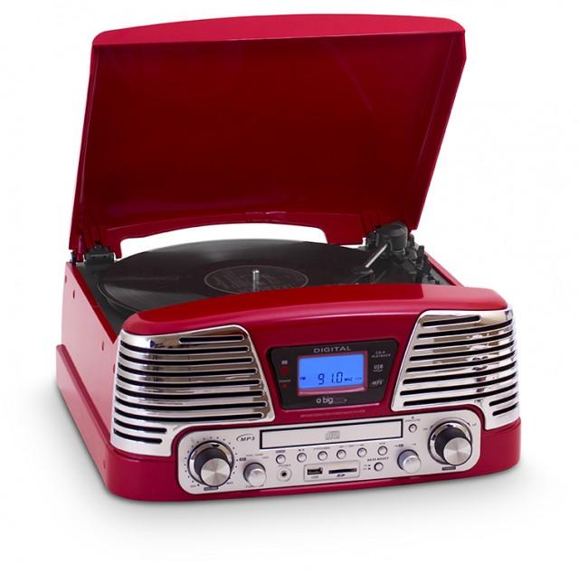 Tourne-disques TD79 «60's» (Rouge) – Packshot