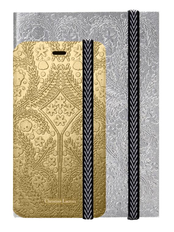 """Set Christian Lacroix Etui folio """"Paseo"""" (Or) + carnet """"Paseo"""" (Argent) - Packshot"""
