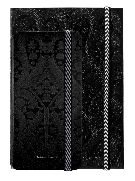 "Set Christian Lacroix Etui folio ""Paseo"" (jais) + carnet ""Paseo"" (Jais) - Packshot"