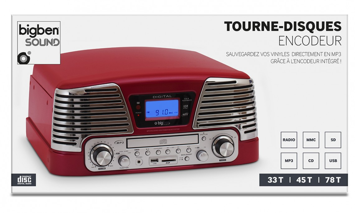 "Tourne-disques encodeur 60's ""Broadway Burgundy"" - Visuel"