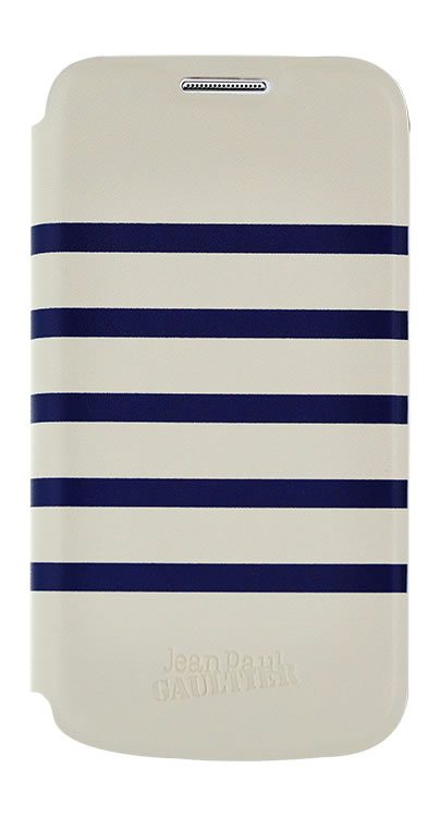 """Etui folio """"Marinière' Jean Paul Gaultier (Blanc et Bleu) - Packshot"""