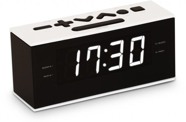 Radio Réveil double alarme (Blanc) - Packshot