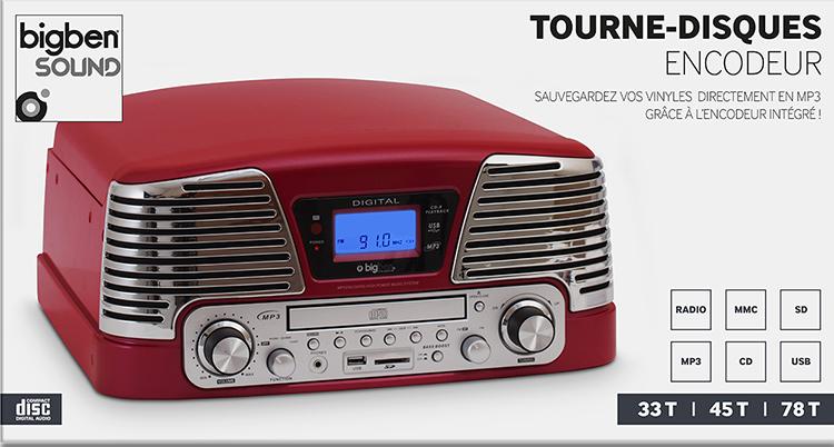 Tourne-disques encodeur TD79 (Rouge) - Visuel