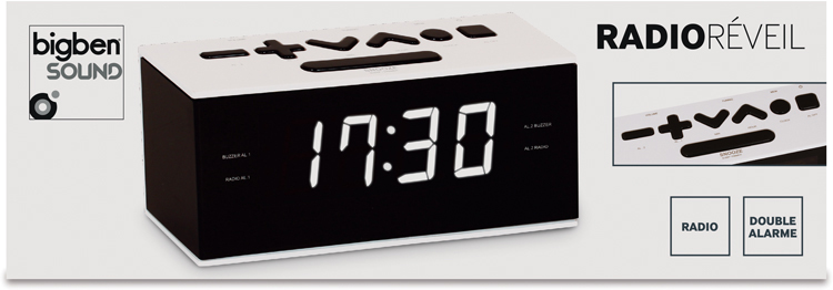 Radio Réveil double alarme (Blanc) - Visuel