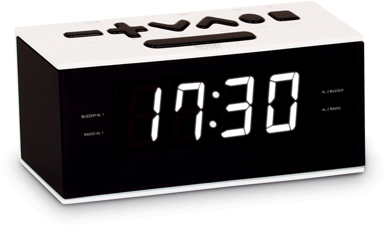 Radio Réveil double alarme (Blanc) - Visuel #1