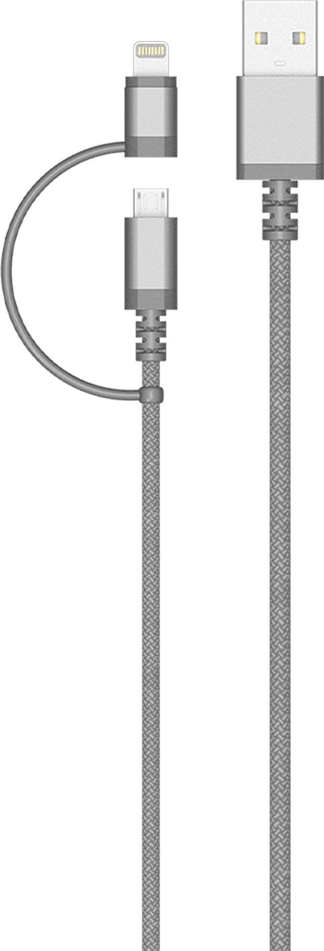 Câble USB/connectiques micro USB/Lightning Colorblock (argenté) - Packshot