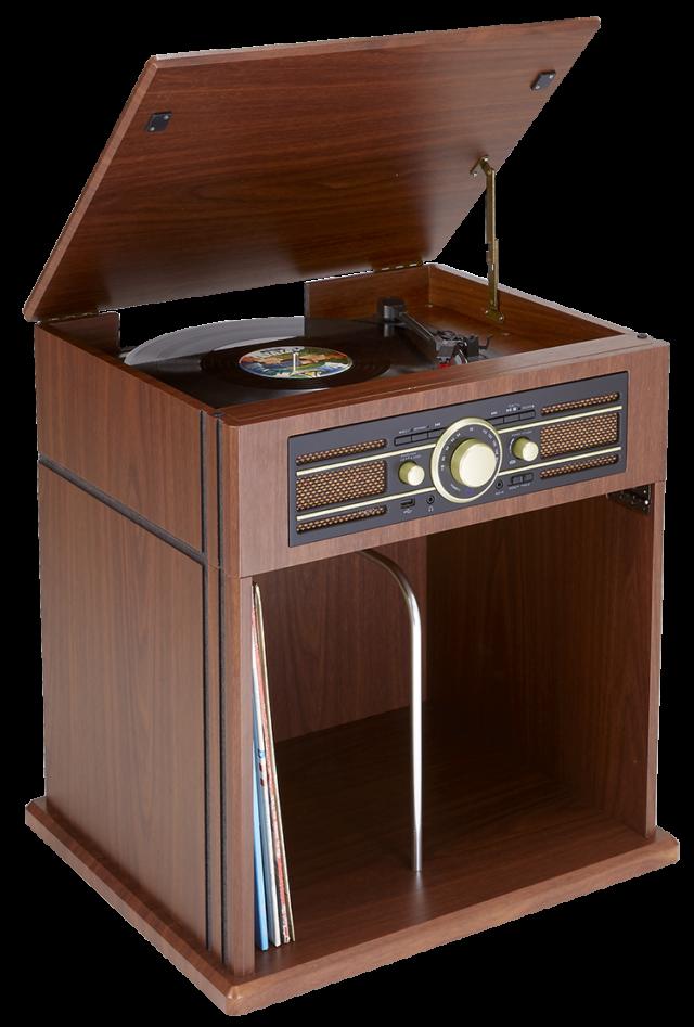 Tourne-disques 2 vitesses : 33 et 45 tours avec rangement vinyles intégré - Packshot