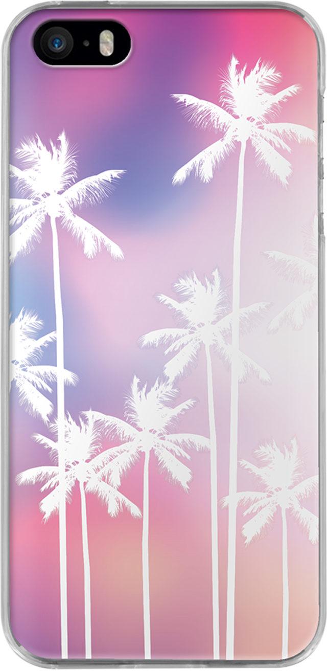 Coque rigide (Rose holographique palmiers) - Packshot