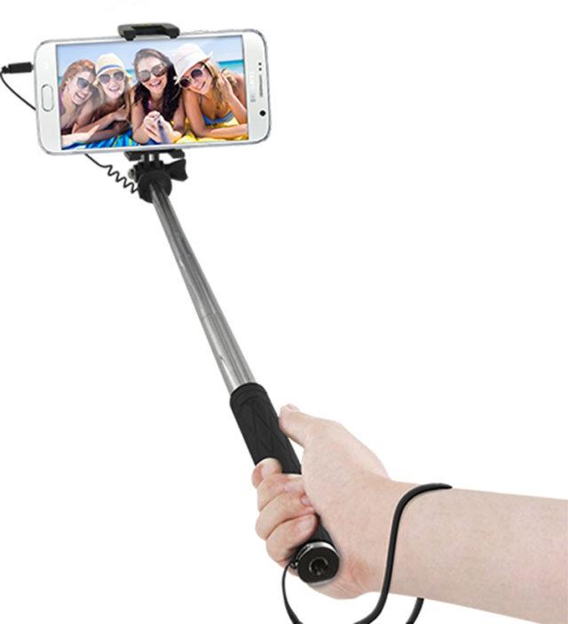 Mini perche télescopique avec déclencheur photo (noir) - Packshot