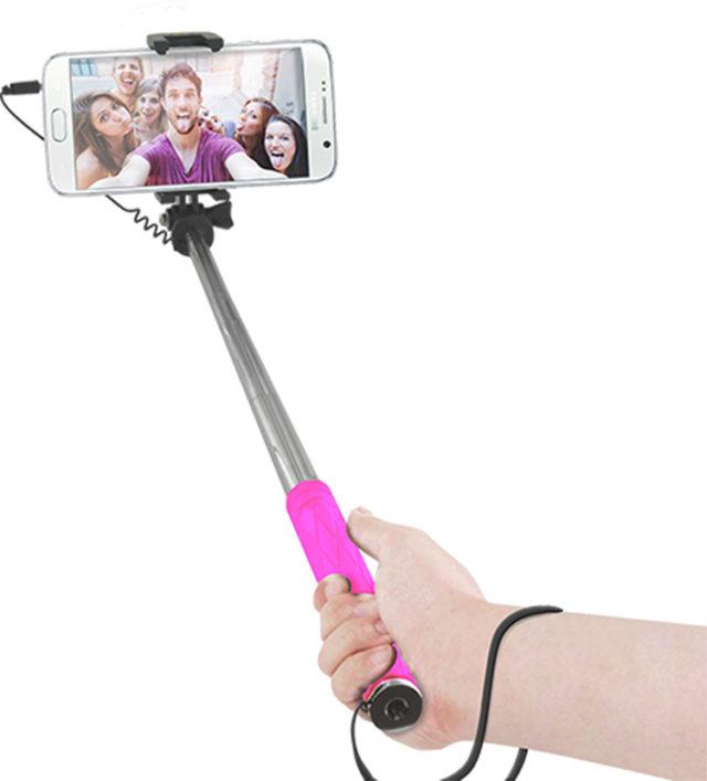 Mini perche télescopique avec déclencheur photo (rose) - Packshot