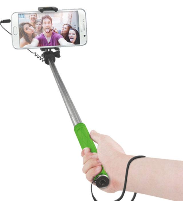 Mini perche télescopique avec déclencheur photo (vert) - Packshot