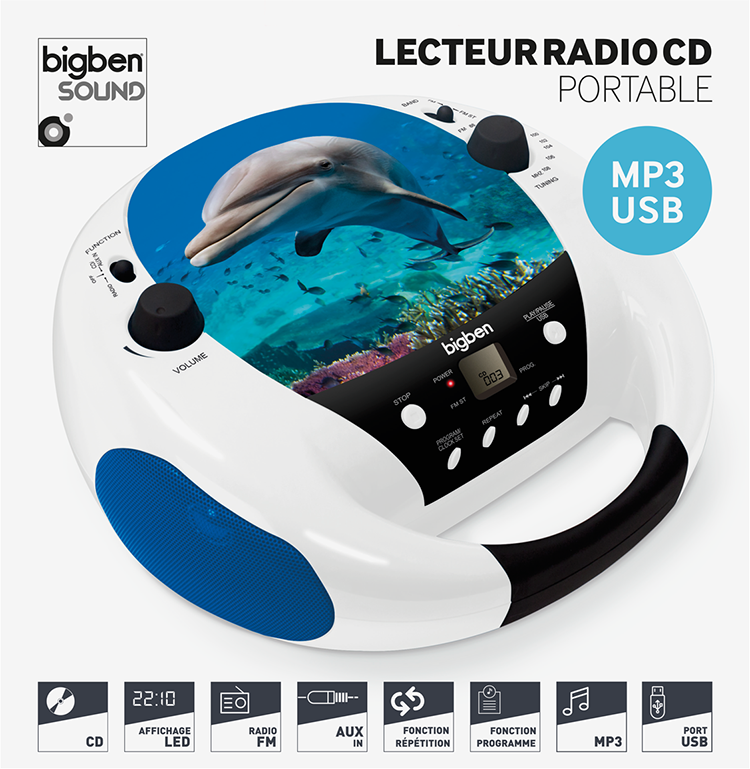 lecteur cd usb portable dauphin cd52dolphinmp3usb bigben. Black Bedroom Furniture Sets. Home Design Ideas