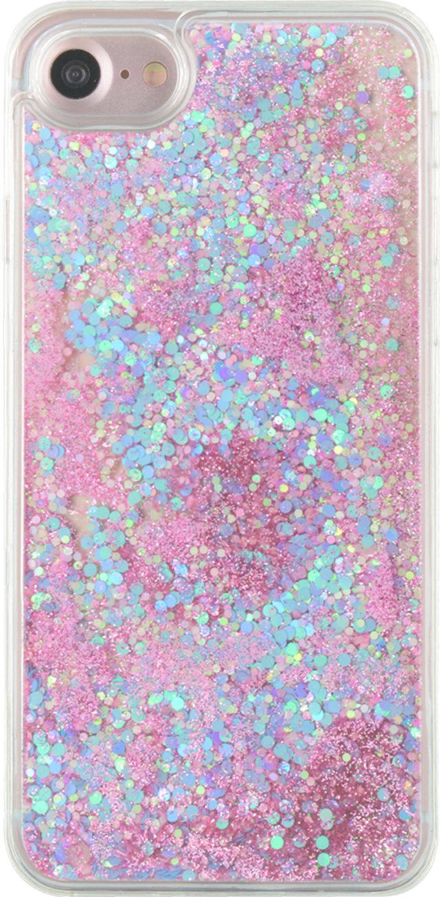 Coque rigide liquide (paillettes roses et bleues) – Packshot