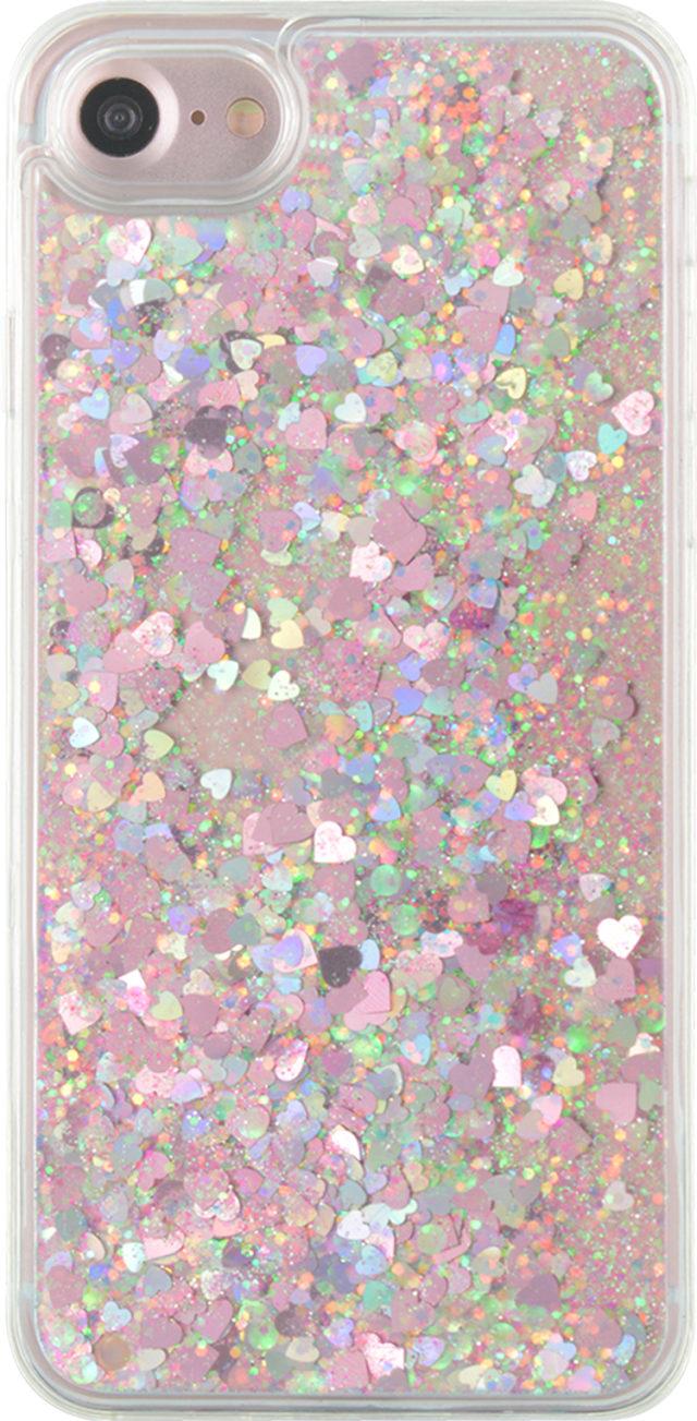 Coque rigide liquide (paillettes roses) – Packshot