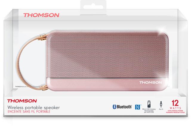 Enceinte sans fil portable Thomson (rose métalisé) – Visuel#2tutu