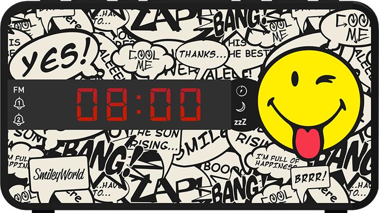 Radio réveil doucle alarme RR16SMILEY Smiley© - Packshot
