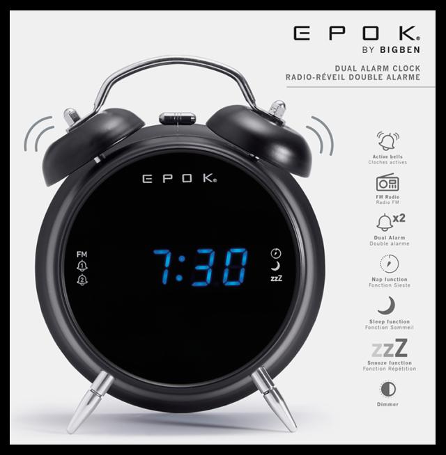Radio réveil double alarme (noir) RR90EPOKN EPOK® BIGBEN – Visuel#2tutu