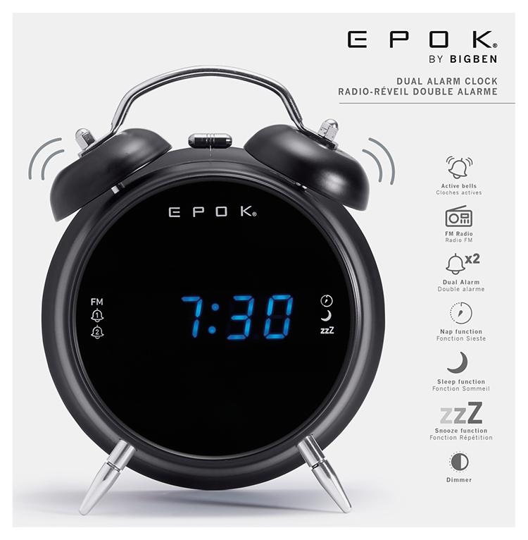 Radio réveil double alarme (noir) RR90EPOKN EPOK® BIGBEN