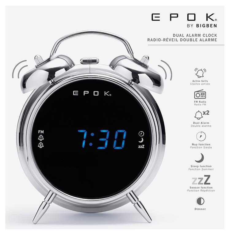 Radio réveil double alarme (argent) RR90EPOKN EPOK® BIGBEN