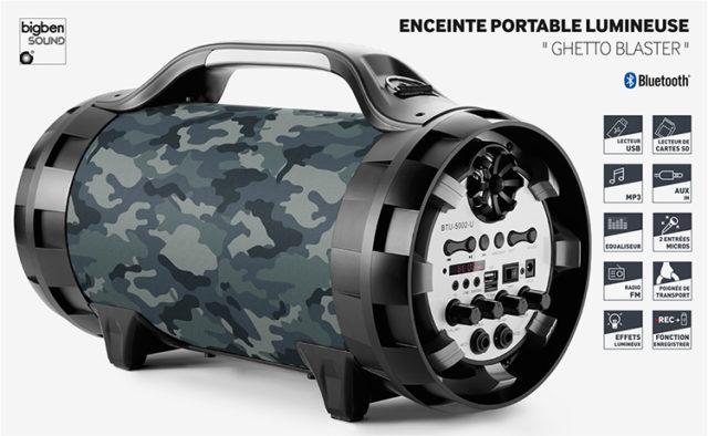 Enceinte portable lumineuse Ghetto Blaster BT50ARMY BIGBEN – Visuel#2tutu#4tutu#5