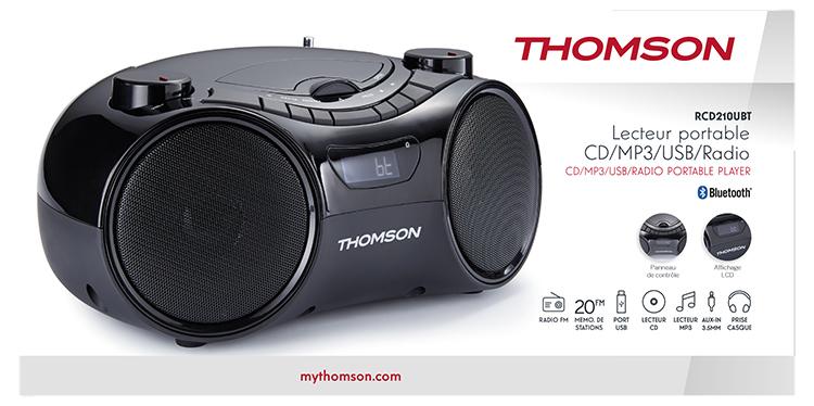 Lecteur portable CD/MP3/USB/RADIO RCD210UBT THOMSON - Visuel#1