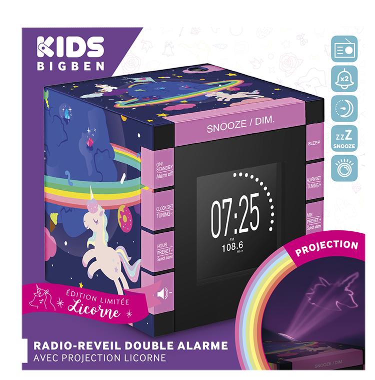 Radio réveil double alarme avec projecteur RR70PUNICORN BIGBEN KIDS - Visuel#2tutu#3