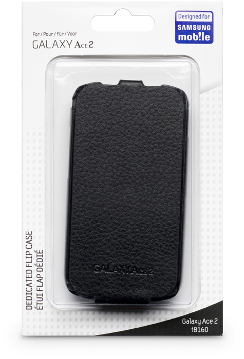 Leather flap case for Samsung® Galaxy Ace 2 (Black) - Image