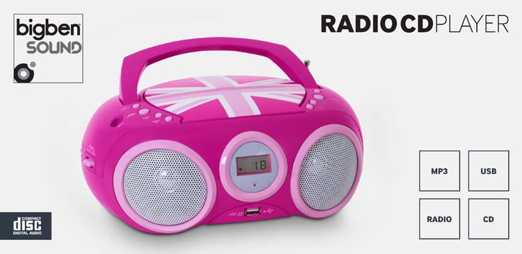 "Radio CD player with USB port ""Union Jack"" (Pink) - Image"