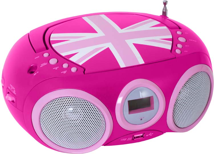 "Radio CD player with USB port ""Union Jack"" (Pink) - Image   #1"