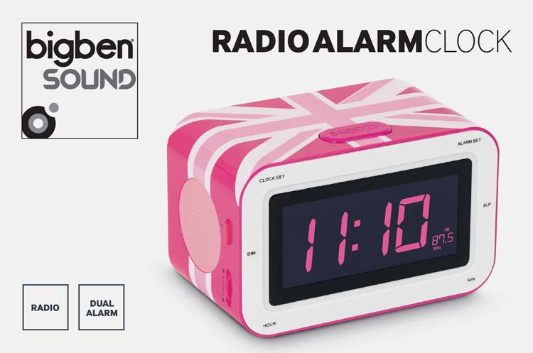 "Radio Alarm Clock ""Union Jack"" (Pink) - Image"