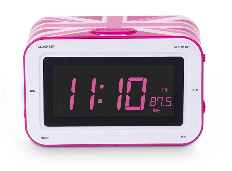 "Radio Alarm Clock ""Union Jack"" (Pink) - Image   #1"