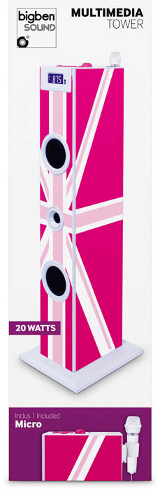 "Multimedia tower with karaoke function ""Union Jack"" (Pink) - Image"
