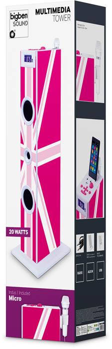 "Multimedia tower with karaoke function ""Union Jack"" (Pink) - Image   #1"