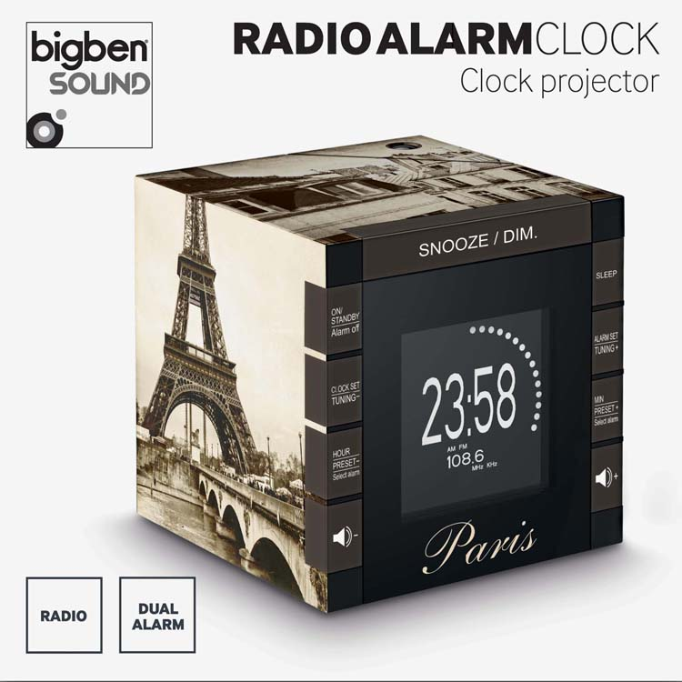 "Radio Alarm Clock Projector ""Paris"" – Image"