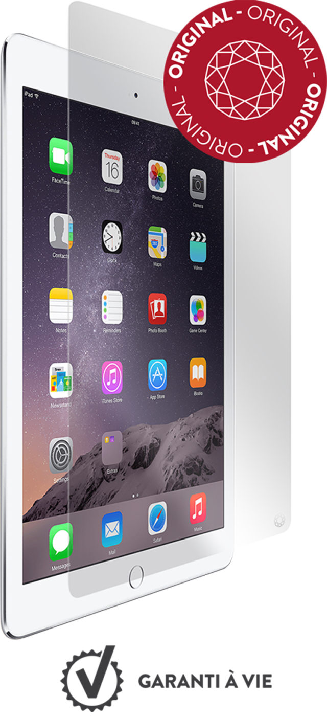 The tempered glass screen protector FORCE GLASS for iPad Air 2 - Packshot
