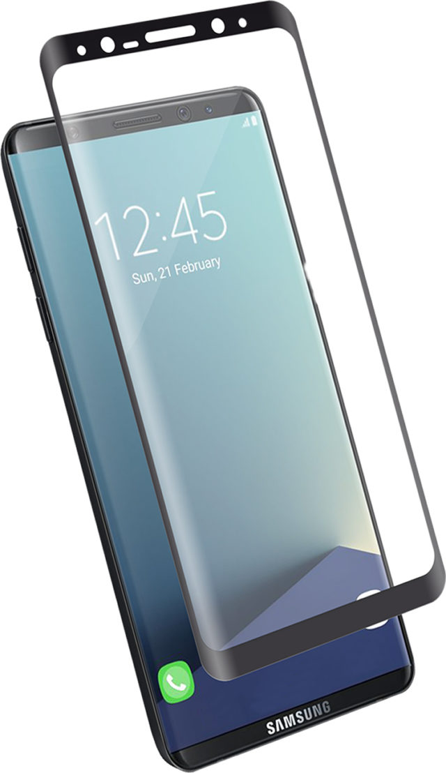 The tempered glass screen protector (black contours) - Packshot