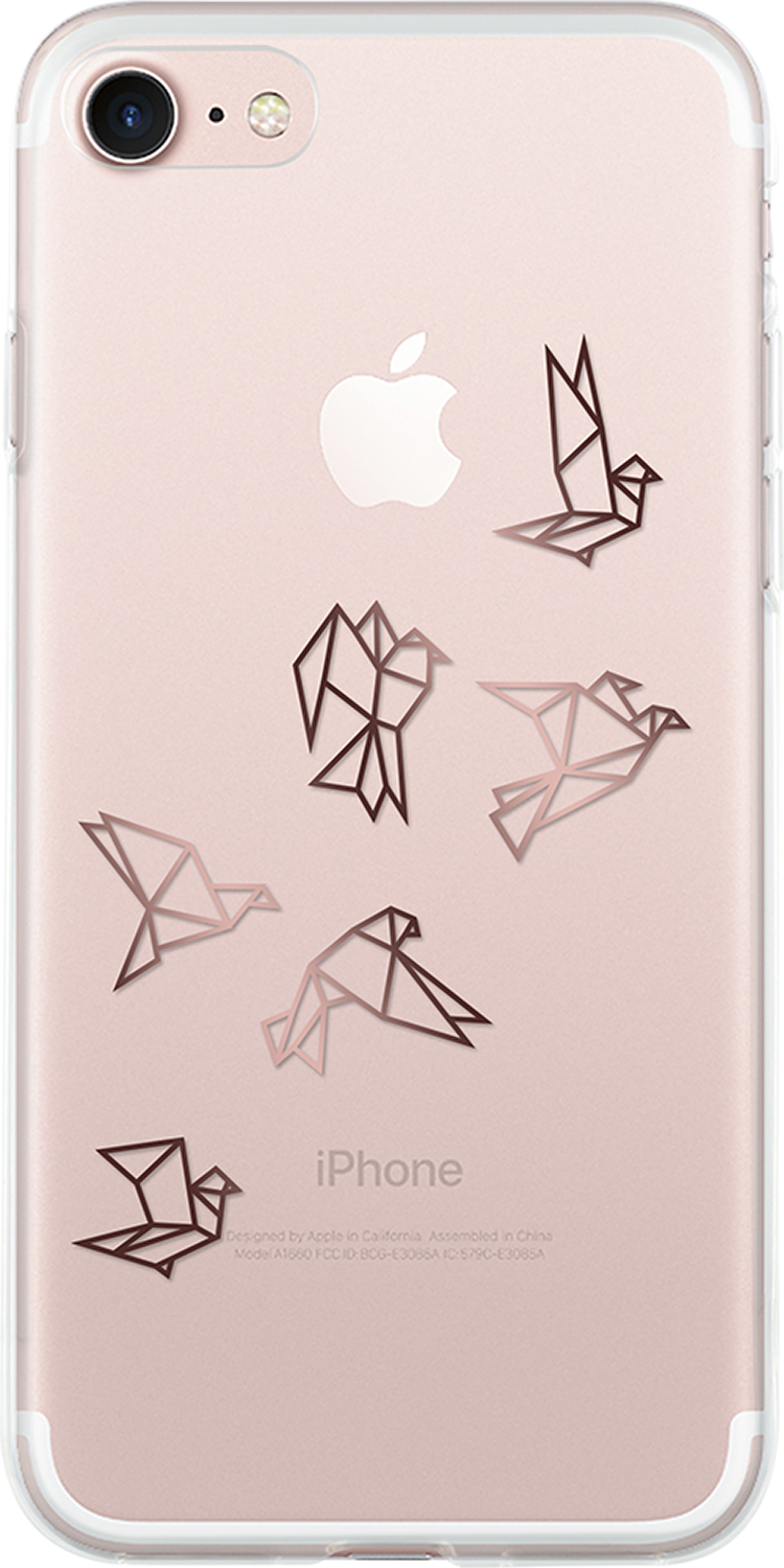 Semi-rigid case (Clear with pink gold origami birds) - Packshot