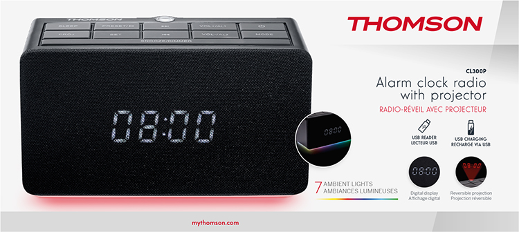 Alarm clock radio with projector CL300P THOMSON - Image  #2tutu#4tutu#5