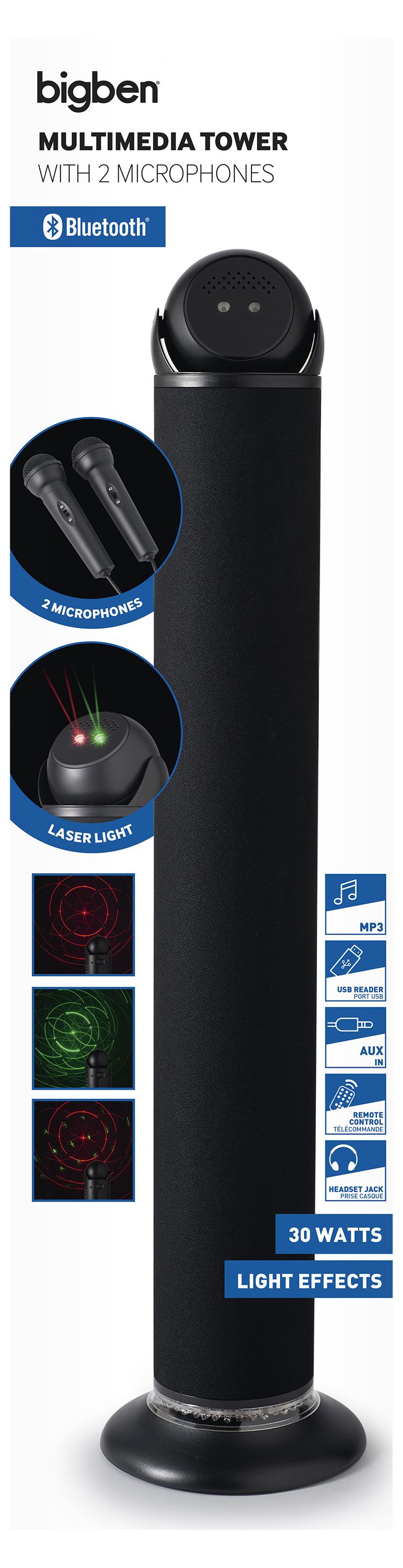 Multimedia tower with 2 microphones TW11LASER BIGBEN - Image  #2tutu#4tutu#5