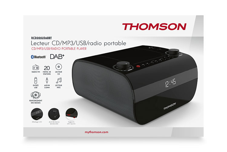 CD/MP3/USB/RADIO portable player RCD305UDABBT THOMSON - Image