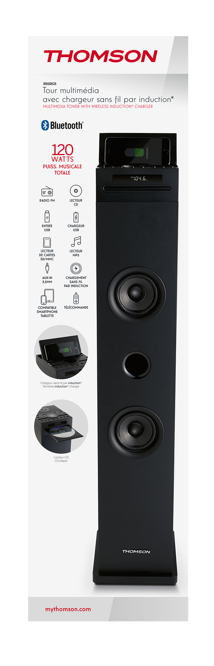 Multimedia tower with wireless charger DS120ICD THOMSON - Image  #2tutu#4tutu