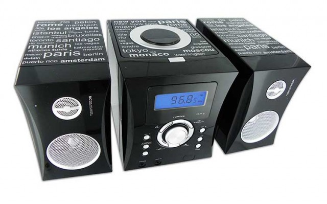 MCD04 Hi-Fi System (Black + Stickers with the name of cities) - Imagen del envoltorio