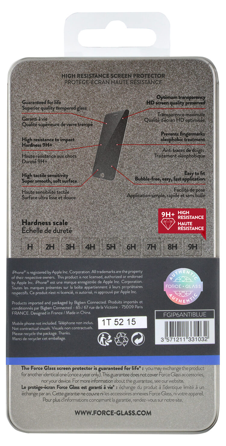 Cristal templado protector de pantalla FORCEGLASS (blue light) IPHONE 6/6S - Imagen#1