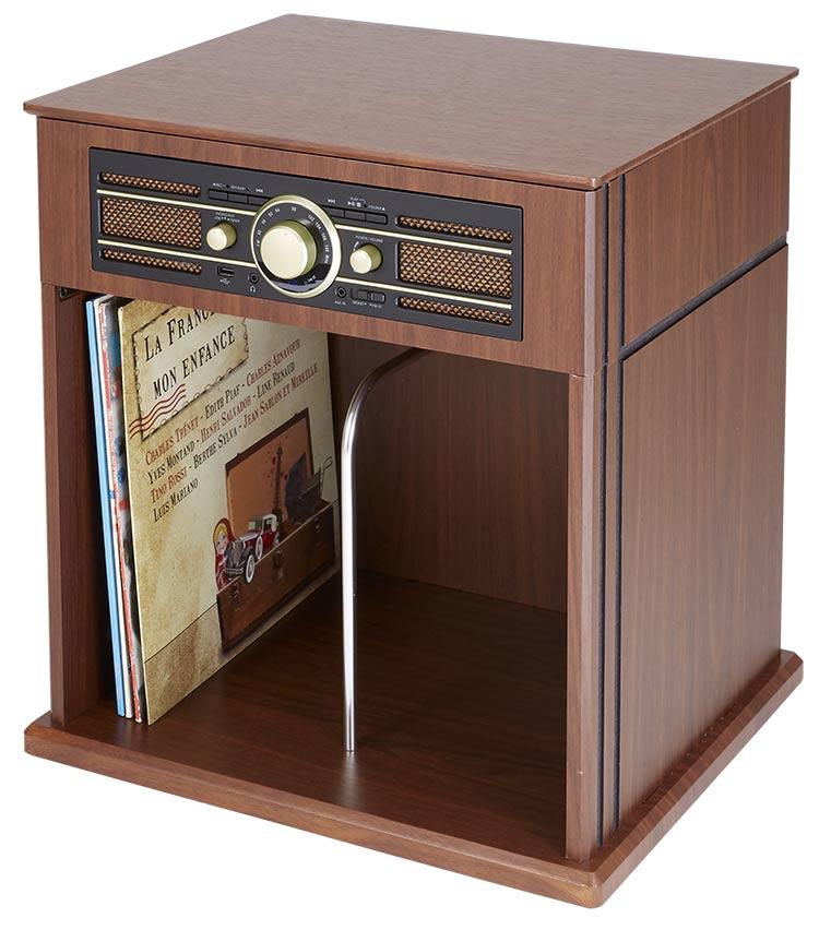 Tocadiscos Mueble Vintage Bigben con estante para Vinilos - Imagen
